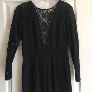 Ados lace cutout back long sleeve black jumpsuit